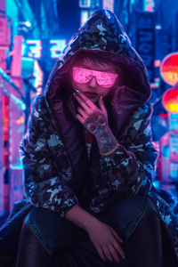 480x800 Neon Glasses Girl Wearing Hoodie