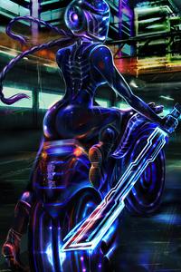 Neon Glow Biker Cyberpunk 4k