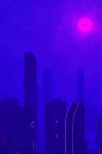480x800 Neon Glow Skyscrapers 4k