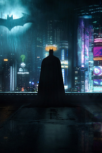 480x854 Neon Gotham Batman 4k