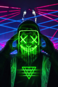 1242x2688 Neon Green Mask Triangle Guy 4k