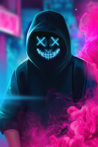Neon Guy Mask Smiling 4k