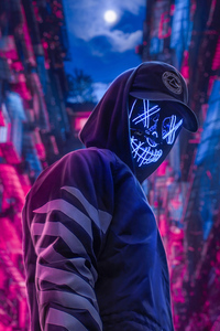 750x1334 Neon Hoodie Hat Guy 4k