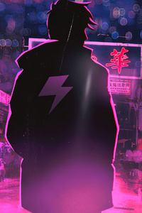 1080x2280 Neon Light Hero 4k