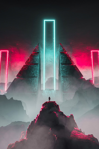 480x800 Neon Light Science Fiction 4k