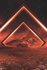 320x480 Neon Lights Orange Mountains 5k