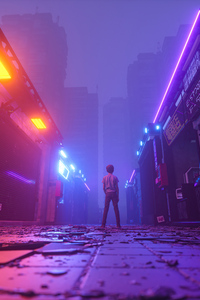 Neon Market Closed Little Boy Standing 4k