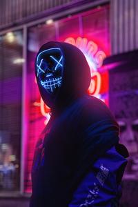 Neon Mask Boy City 4k