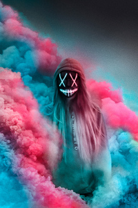 2160x3840 Neon Mask Girl Colorful Gas