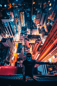 750x1334 Neon Mask Guy Climbing Building 4k