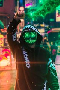 640x1136 Neon Mask Guy With Green Smoke