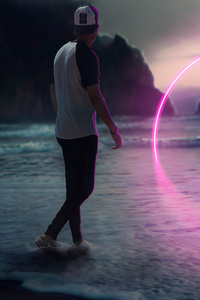 1080x2160 Neon Path Beach Boy 4k