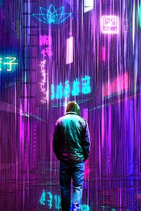 Neon Rainy Lights Cyberpunk 5k