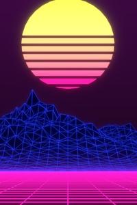 320x480 Neon Retrowave Minimalism 4k