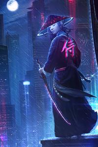 320x480 Neon Samurai Girl 4k