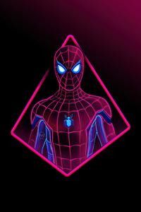 480x800 Neon Spiderman 4k