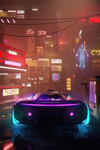 1080x2280 Neon Street Scifi Vehicle 4k