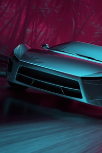 Neon Synthwave Sport Car