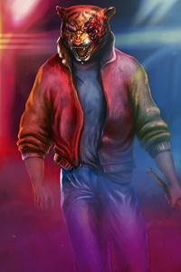 Neon Tiger Synhtwave Darkwave 4k