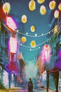 1080x2160 Neon Urban Warrior 4k