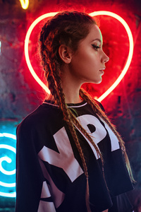 480x854 Neon Wall Behind Girl