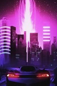 480x854 Neon Wave City 4k