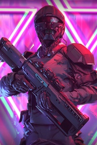 Neon Weapon Soldier Science Fiction 4k