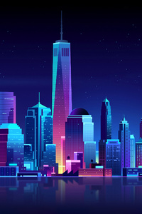 2160x3840 New York Buildings City Night Minimalism