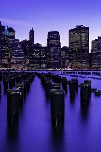 New York City Skyscrapers Buildings Lights Sky