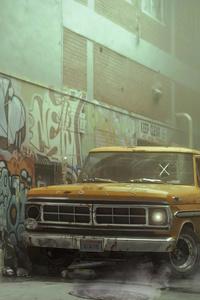 1125x2436 New York Street Abonded Ford 4k