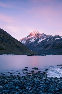 New Zealand Mountains Landscape Sky Ocean 5k