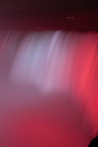 240x400 Niagara Falls Waterfall Red Backlight 5k