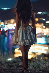1080x1920 Night Alone White Skirt Girl
