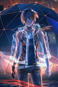 1280x2120 Night City Anime Boy 4k