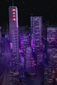320x480 Night City Buildings Minimal 4k