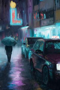 Night City Rain Art