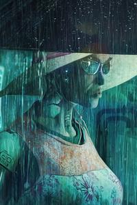 Night City Rain Storm Cyber 4k