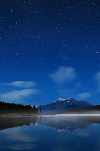 480x800 Night Landscape Mountains Reflection