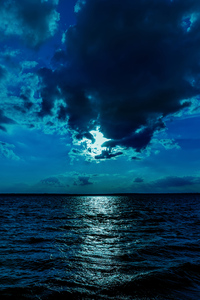 240x400 Night Moon Sea Sky Blue 4k