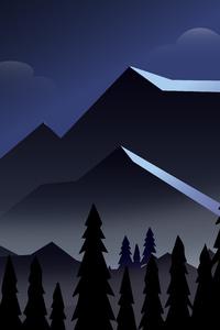 Night Mountains Minimalist 8k
