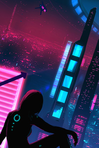 240x320 Night Neon Alone Girl Cyberpunk 5k