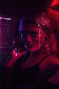 1242x2688 Night Out Cyberpunk Girls 4k
