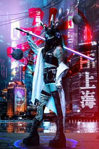 1440x2560 Night Warrior Scifi Cyberpunk 5k