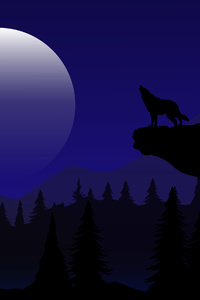 Night Wolf Howling Minimal 4k