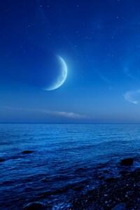 1080x1920 Nightfall Mountain Sea Moon