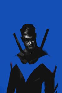 240x320 Nightwing Minimal Blue 4k