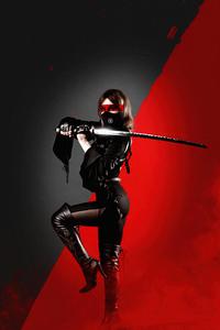 1125x2436 Ninja Girl With Sword Black Dress