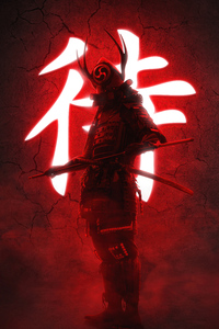 1080x2280 Ninja With Swords Red 5k