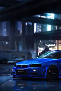 320x568 Nissan Blue Gtr