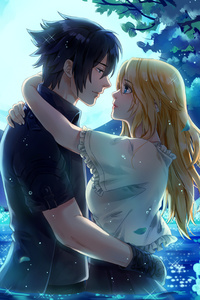 Noctis And Stella From Final Fantasy XV Under The Moon